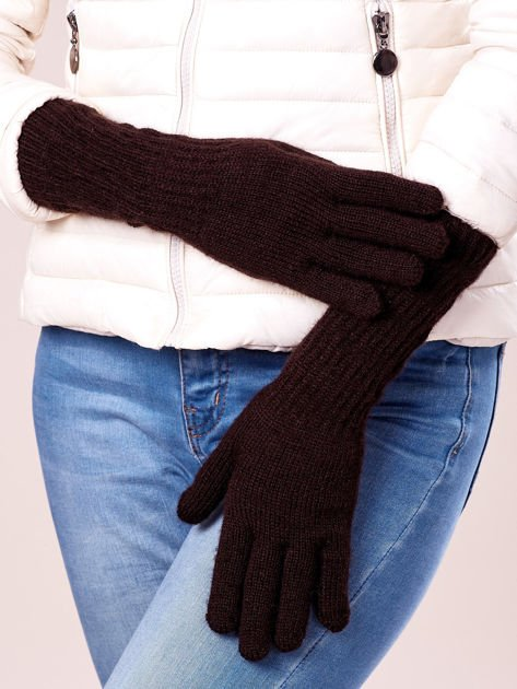 Brązowe długie rękawiczki z drapowanym rękawem                              zdj.                              2