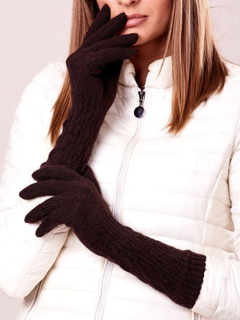 Brązowe długie rękawiczki z drapowanym rękawem                              zdj.                              1