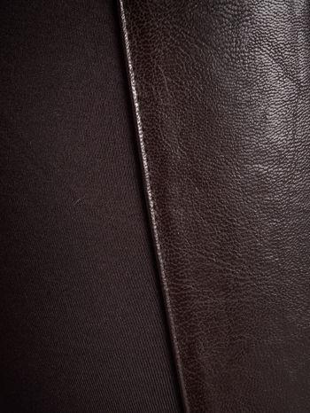 Brązowe dwustronne legginsy skórzane                                  zdj.                                  5