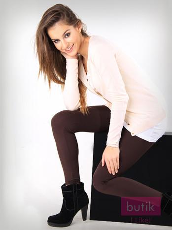 Brązowe gładkie legginsy bawełniane