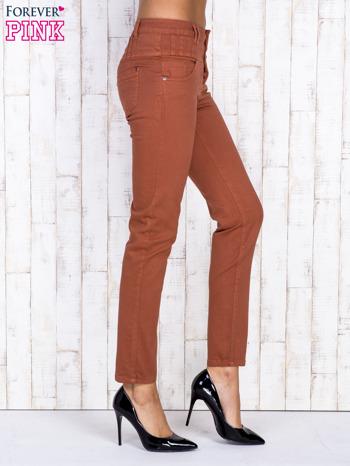 Brązowe jeansowe spodnie skinny z wysokim stanem                                  zdj.                                  3