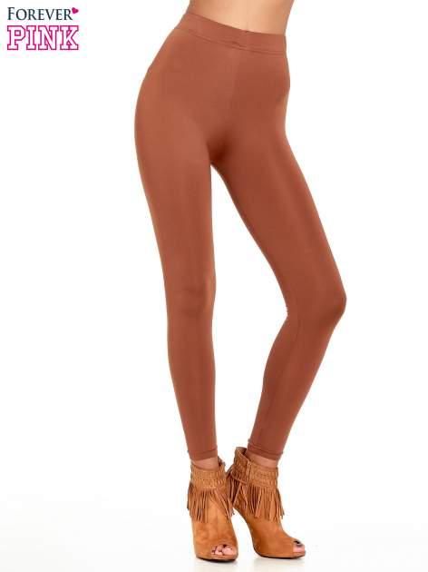 Brązowe legginsy basic z lekkim ociepleniem