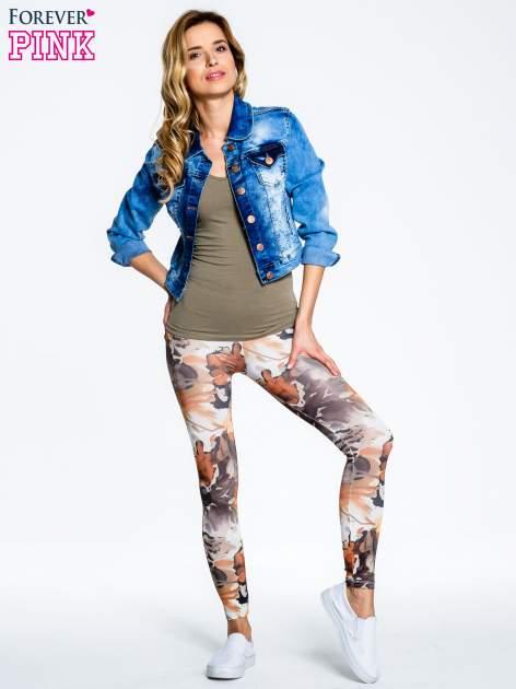 Brązowe legginsy w wielobarwne wzory                                  zdj.                                  8