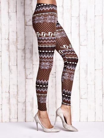 Brązowe legginsy w zimowy motyw                                  zdj.                                  3