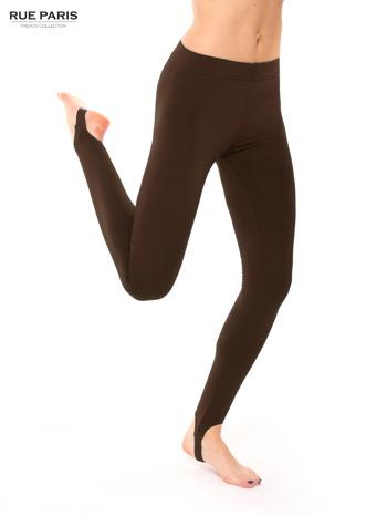 Brązowe legginsy zakładane na stopę                                  zdj.                                  4