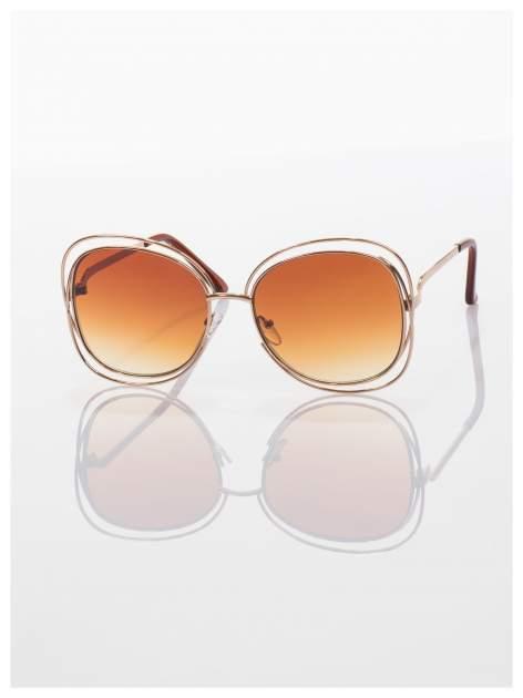 Brązowe okulary FASHION ze złotymi ramkami ,wyjątkowe stylizowane na Chloe                                  zdj.                                  1
