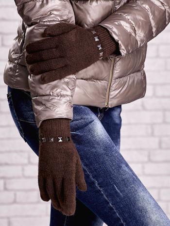 Brązowe proste rękawiczki z ćwiekami                                  zdj.                                  3