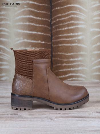 Brązowe skórzane botki faux leather na suwak, z traktorową podeszwą                                  zdj.                                  1
