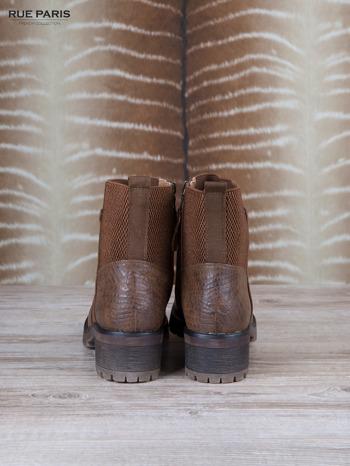 Brązowe skórzane botki faux leather na suwak, z traktorową podeszwą                                  zdj.                                  4