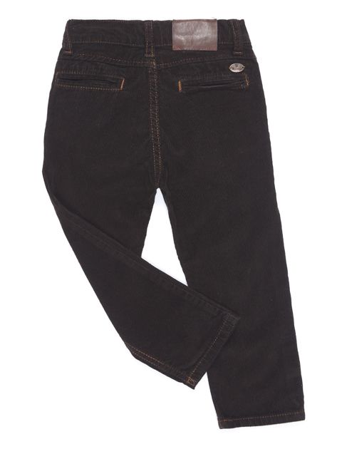 Brązowe sztruksowe spodnie dla chłopca                              zdj.                              2