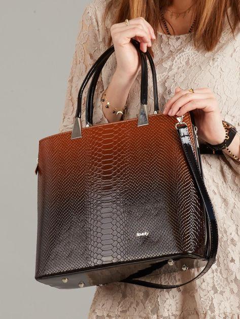 0a6481c572ac0 Brązowo-czarna elegancka torebka skórzana - Akcesoria torba - sklep ...