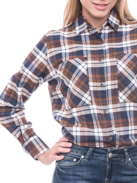 Brązowo-granatowa bawełniana dłuższa koszula w kratę                                  zdj.                                  5
