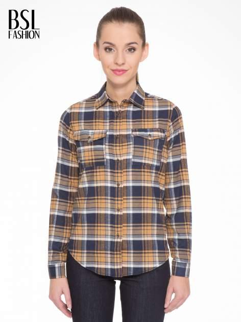 Brązowo-granatowa damska koszula w kratę z kieszonkami                                  zdj.                                  1