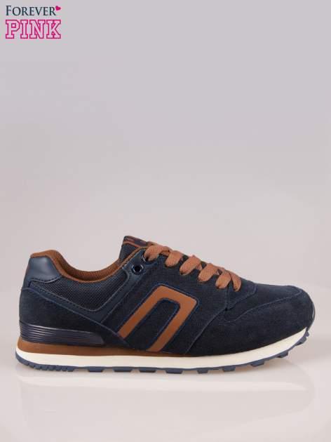 Brązowo-granatowe buty sportowe faux leather Heat                                  zdj.                                  1