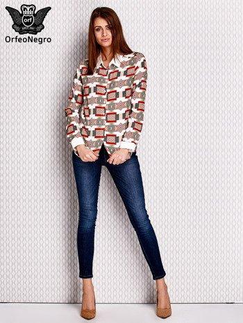 Brązowo-łososiowa wzorzysta koszula z podwijanymi rękawami                              zdj.                              4