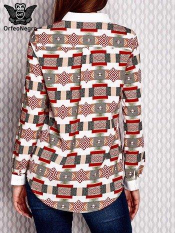 Brązowo-łososiowa wzorzysta koszula z podwijanymi rękawami                              zdj.                              2