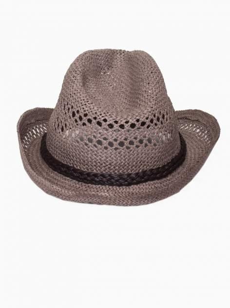 Brązowy damski kapelusz kowbojski z ciemną plecionką                                  zdj.                                  5