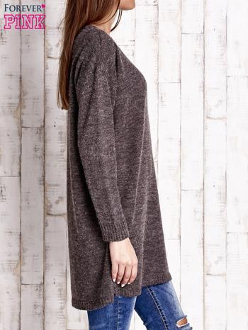 Brązowy długi sweter oversize                                  zdj.                                  3