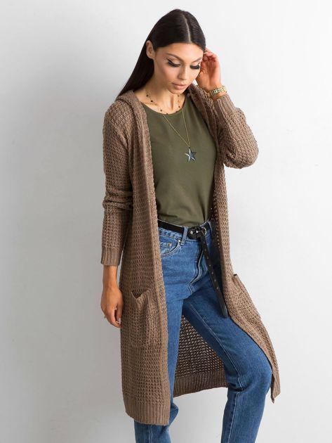 Brązowy długi sweter z dzianiny                              zdj.                              3