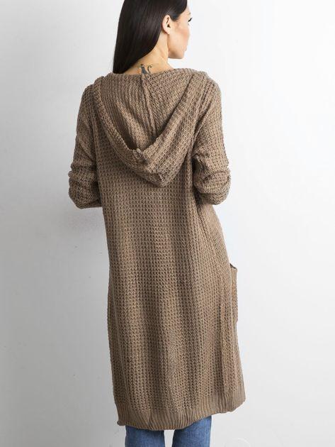 Brązowy długi sweter z dzianiny                              zdj.                              2