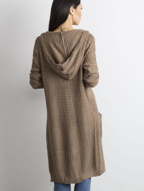 Brązowy długi sweter z dzianiny                              zdj.                              5