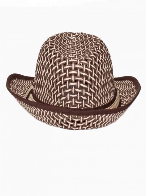 Brązowy kapelusz słomiany z dużym rondem i ciemną wstążką                                  zdj.                                  5