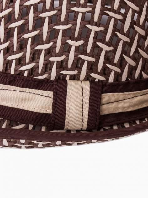 Brązowy kapelusz słomiany z dużym rondem i ciemną wstążką                                  zdj.                                  9