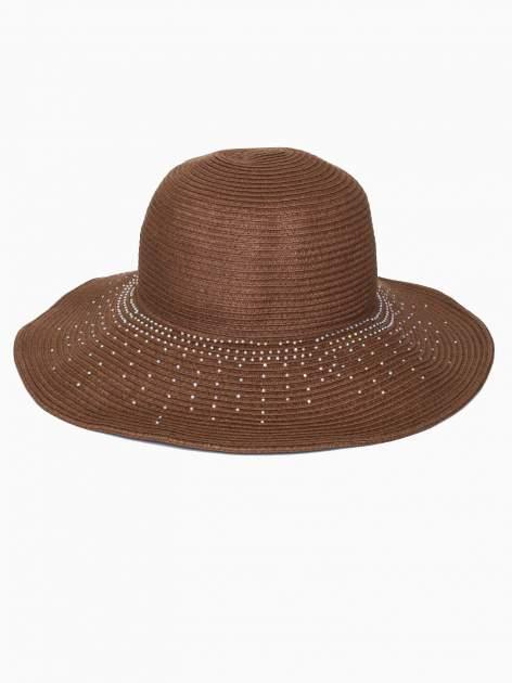 Brązowy kapelusz słomiany z dużym rondem i kryształkami                                  zdj.                                  2