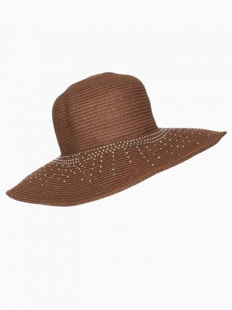 Brązowy kapelusz słomiany z dużym rondem i kryształkami                                  zdj.                                  4