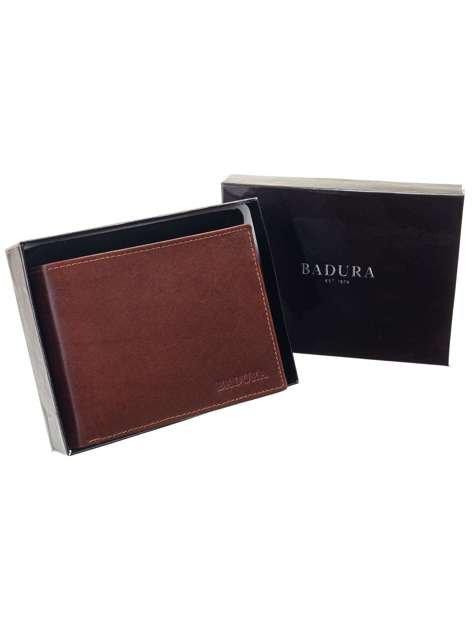 Brązowy klasyczny portfel męski skórzany BADURA