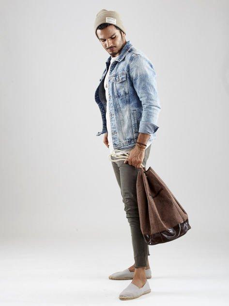Brązowy materiałowy plecak worek męski                              zdj.                              4