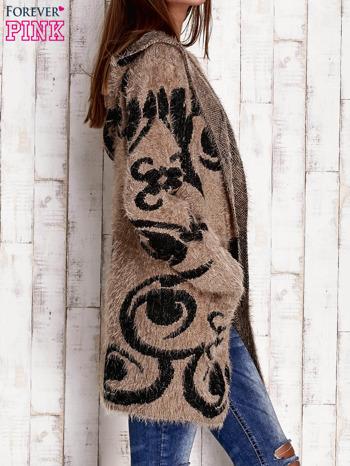 Brązowy otwarty sweter z kapturem                              zdj.                              3