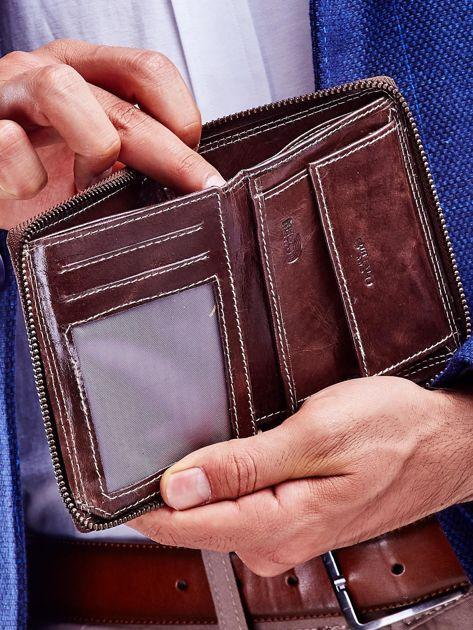 Brązowy portfel dla mężczyzny zapinany na suwak                              zdj.                              2