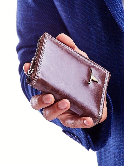 Brązowy portfel dla mężczyzny zapinany na suwak                              zdj.                              6