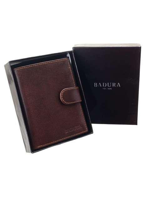 Brązowy portfel męski pionowy BADURA