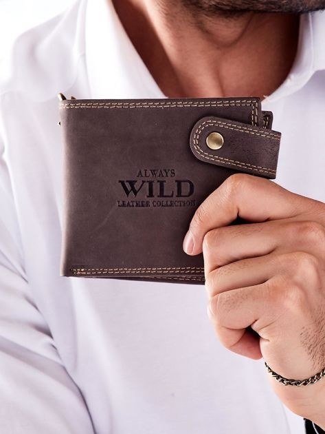 Brązowy portfel męski skórzany z łańcuszkiem