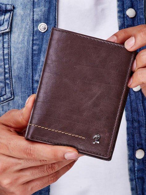 Brązowy portfel męski z przeszyciem