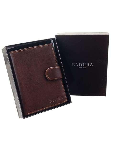 Brązowy portfel męski ze skóry naturalnej BADURA