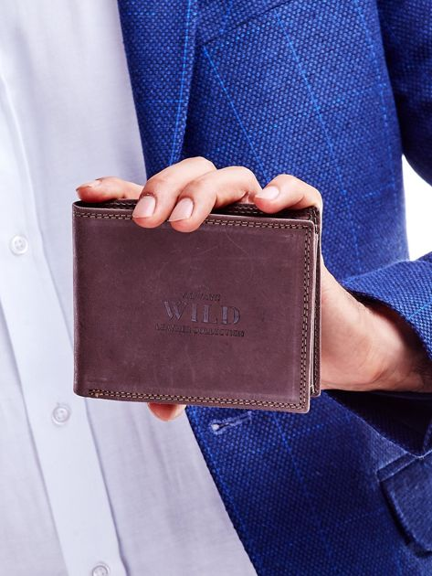 Brązowy portfel męski ze skóry naturalnej na zatrzask                              zdj.                              2