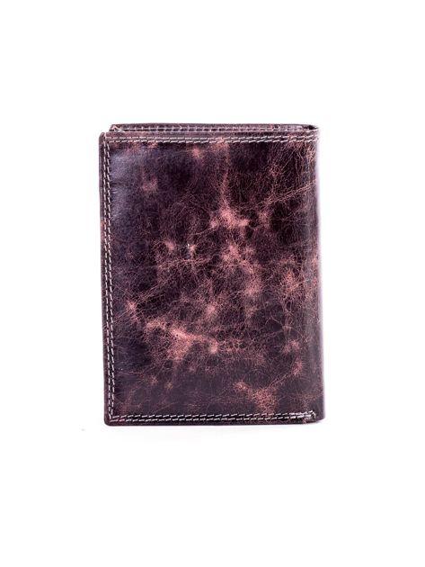 Brązowy portfel męski ze skóry z przetarciami                              zdj.                              2