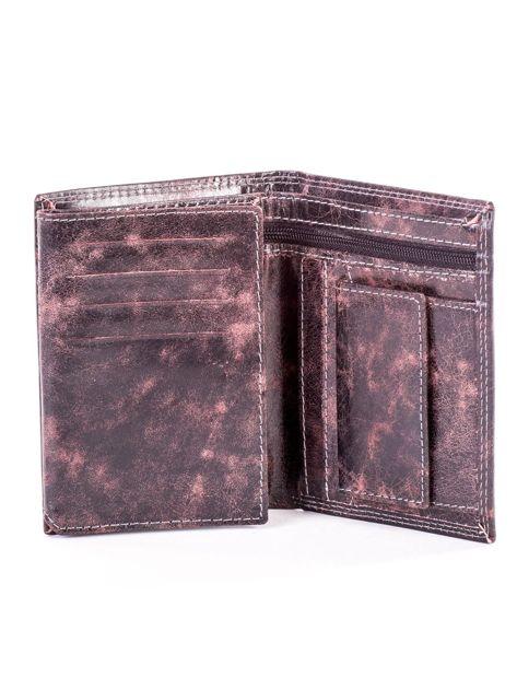 Brązowy portfel męski ze skóry z przetarciami                              zdj.                              4