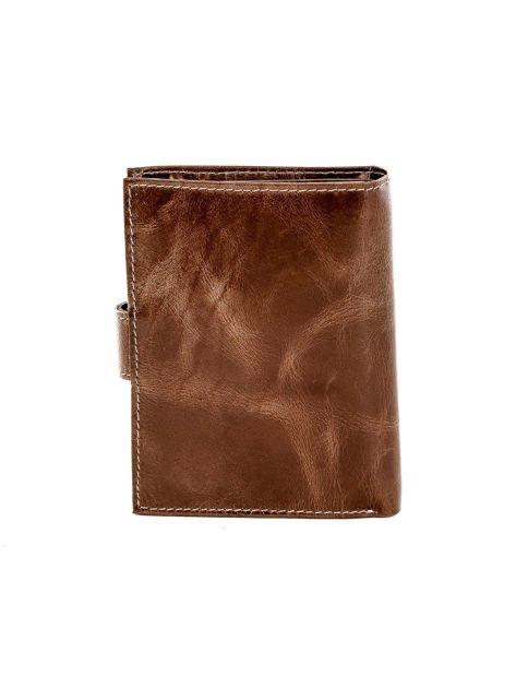 Brązowy portfel skórzany z cieniowaniem i zapięciem na zatrzask                              zdj.                              2
