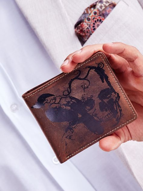 Brązowy portfel skórzany z motywem czaszki