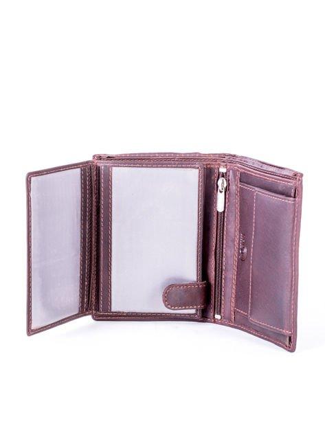 Brązowy portfel skórzany z przeszyciami                              zdj.                              5