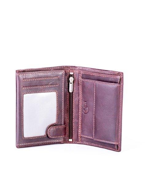 Brązowy portfel skórzany z przeszyciami                              zdj.                              6