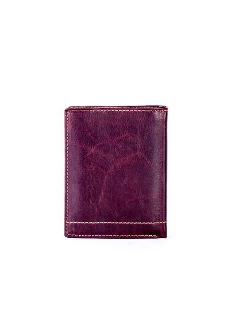Brązowy portfel skórzany z przeszyciami                              zdj.                              2