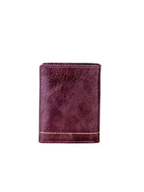 Brązowy portfel skórzany z przeszyciem                              zdj.                              2