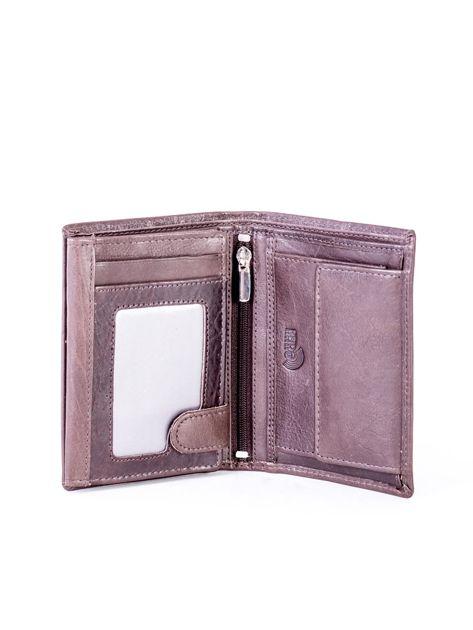 Brązowy portfel skórzany z przeszyciem                              zdj.                              4