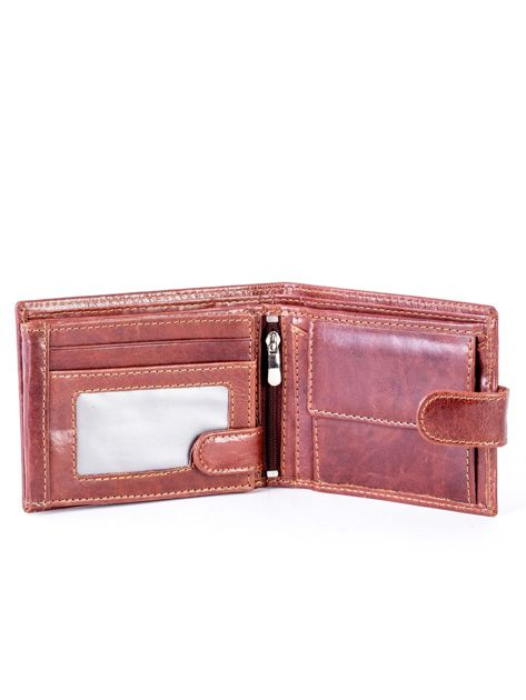 Brązowy portfel skórzany z zapięciem                              zdj.                              4