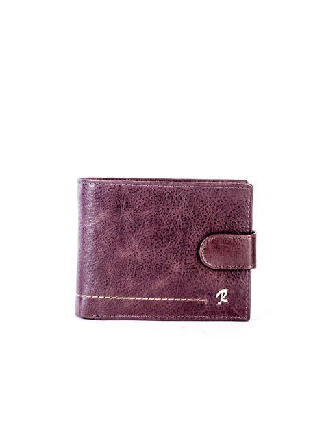 Brązowy portfel ze skóry naturalnej na zatrzask                              zdj.                              1